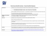 Time & Leave Benefits Summary – Hourly Classified Employees