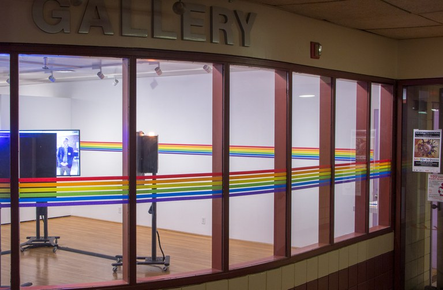 Photo of Gallery installation through front windows
