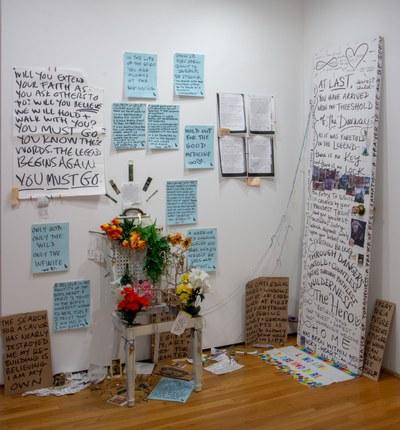 2020, chair, door, mixed media installation