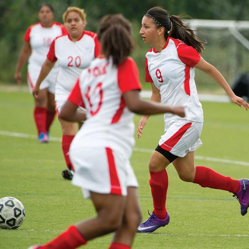 York Students Playing Soccer/Football