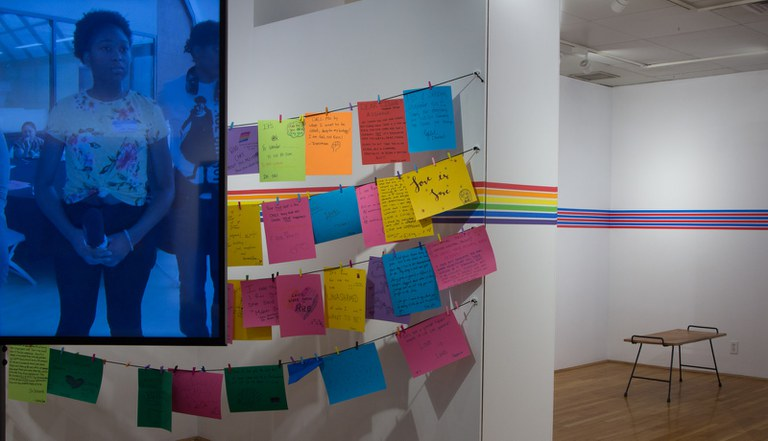 Photo of 360/VR video multi-channel installation and My Pride Story Message writing installation