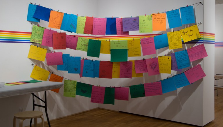 Photo of My Pride Story Message writing installation