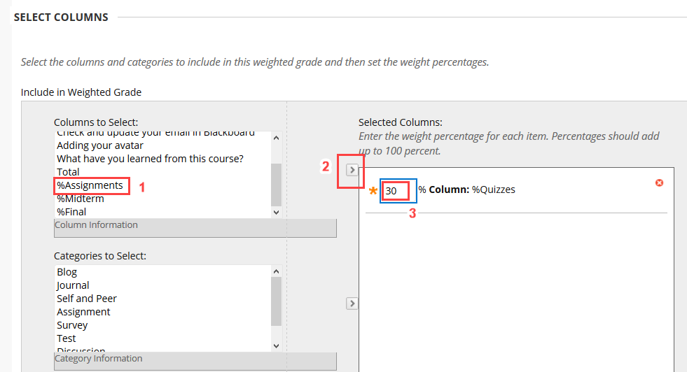 Add categories to weighted total column