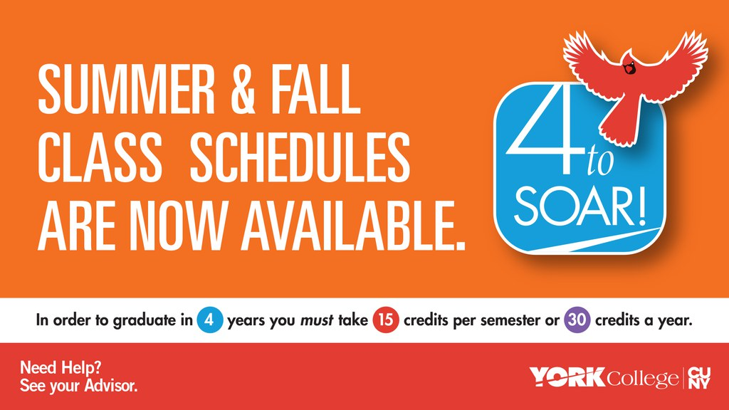 In order to graduate in 4 years, you must take 30 credits per year. Need Help? See your Advisor.