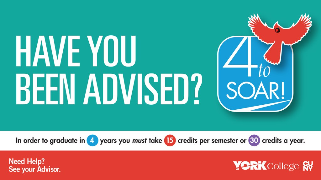 In order to graduate in 4 years, you must take 15 credits per semester. Need Help? See your Advisor.