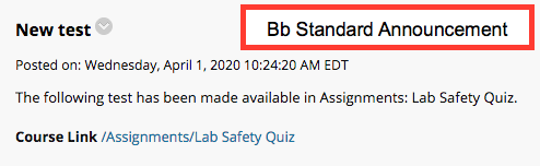 Bb standard announcement for a test