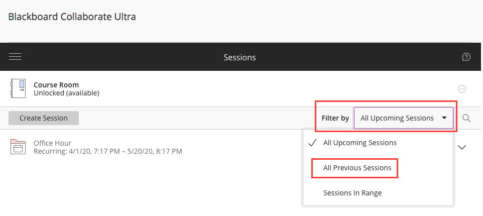 Access previous sessions