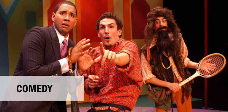 Picture of Scapin scene with two men looking into distance with hairy man with tennis racket behind.