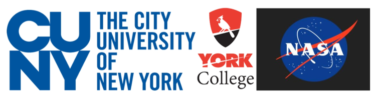 The logos for CUNY York College and Nasa
