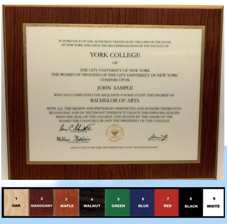 Color Options for Plaque for plaques