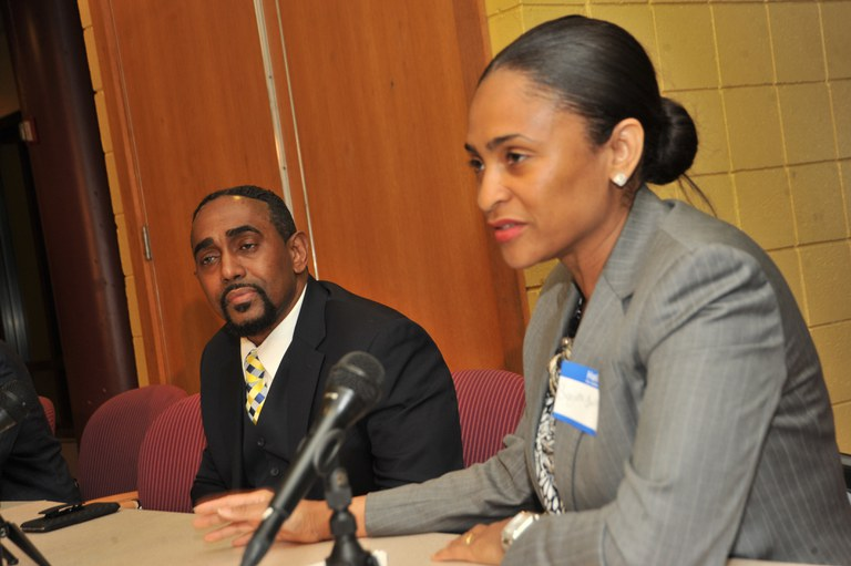 Carl Peters and Suzette Bather- Taylor answering questions from small business owners.