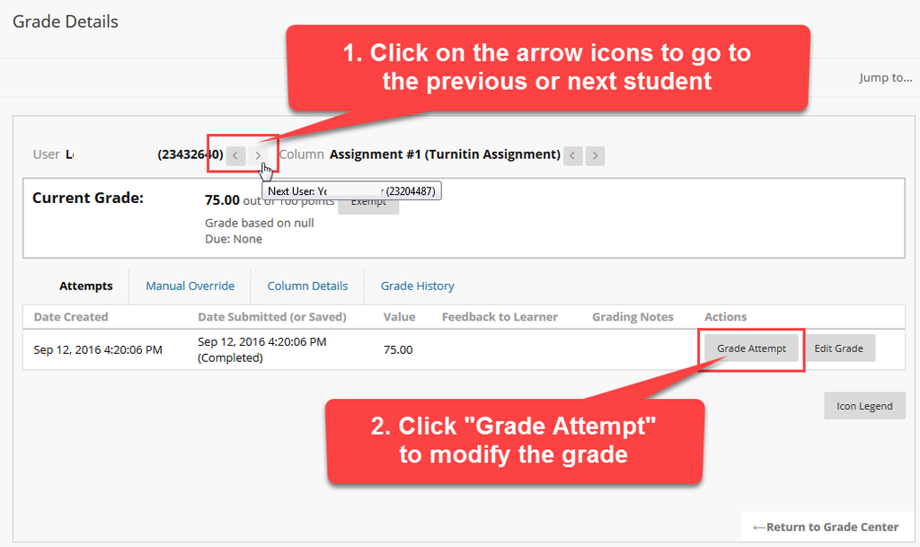 Grade Details page