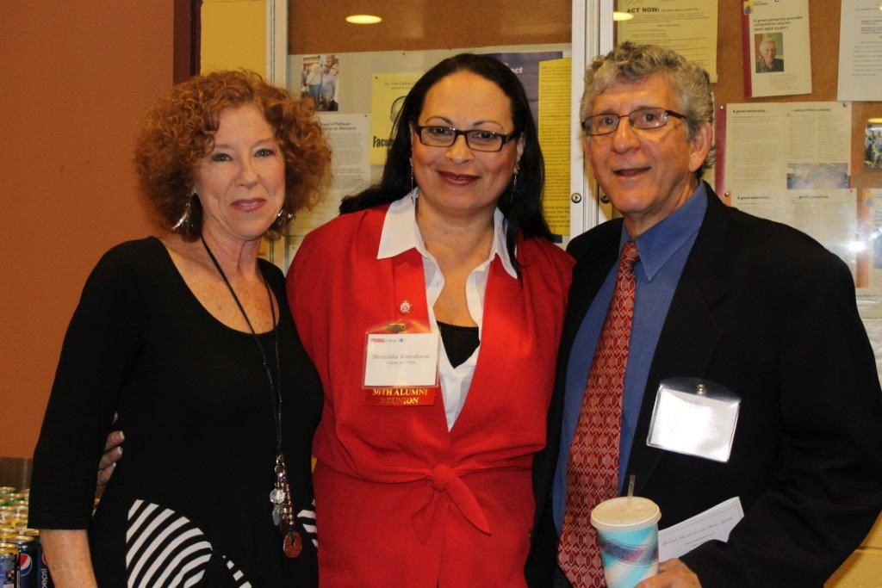 Retired Faculty members Gloria Waldman and Jack Schlein with York Alum Brunilda Almodovar