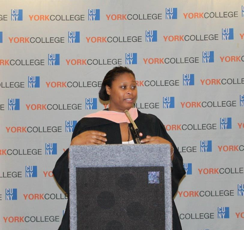 York College Association President Tracy Bowes extend Greetings