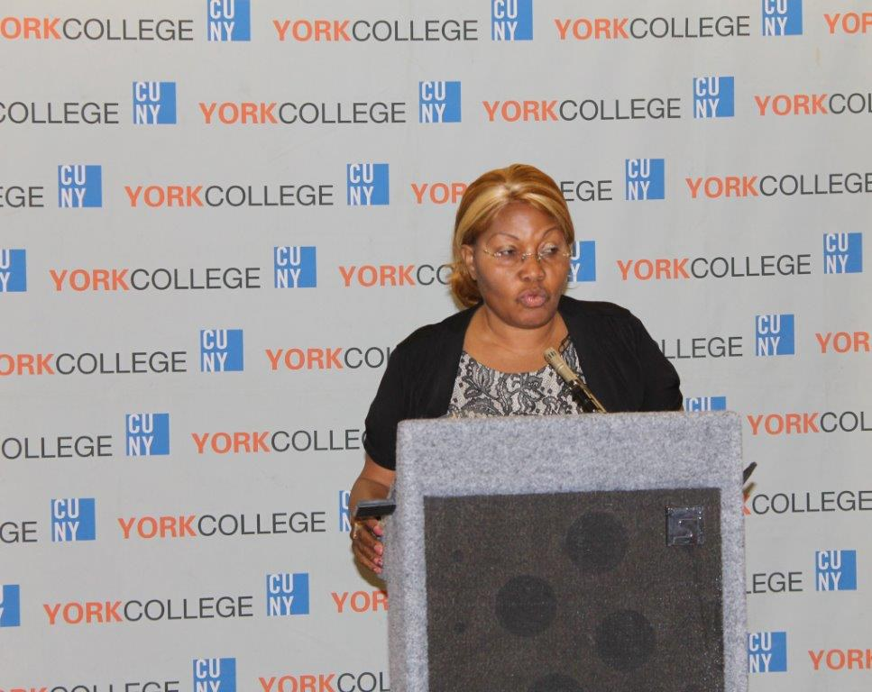 Alumni speaker at the York College Reunion