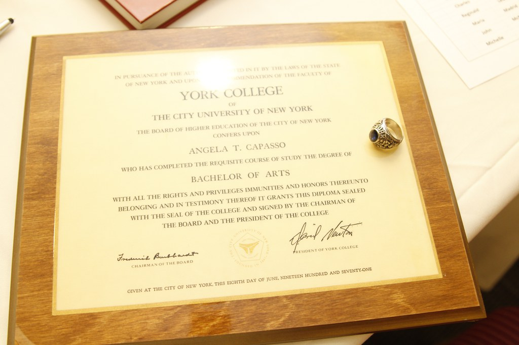 Angela T. Capasso Diploma who received her Bachelors of Arts in York College
