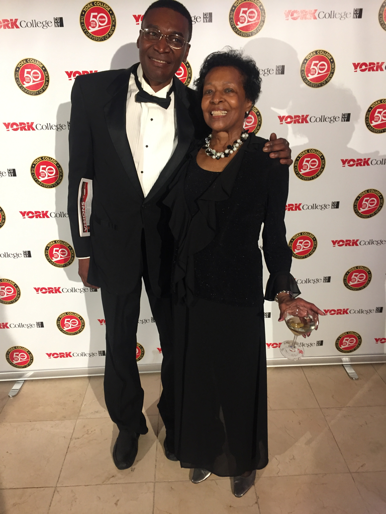 Ms. Velma Adams (left) and her son Mark Adams attended York College's 50th Anniversary Celebration.