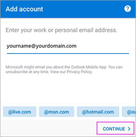 Add Account Continue for Outlook setup