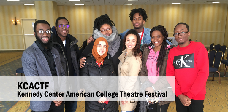 Students smiling together at the Kennedy Center American College Theatre Festival.