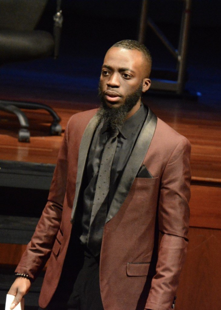 Luckie is an actor and the radio host of YCRadio performs on stage as Mark Antony in Julius Caesar. Photo Credit Tuquan Smith