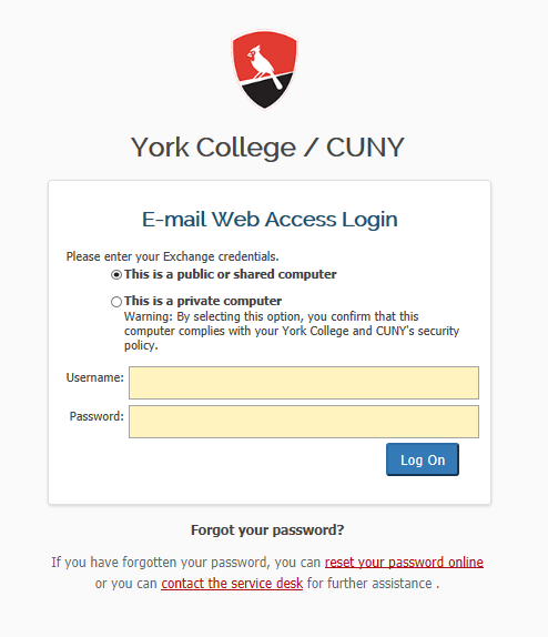 New OWA E-mail web access form