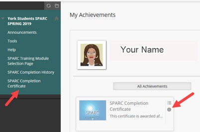 SPARC Completion Certificate screenshot
