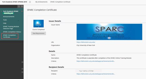 SPARC Completion Certificate screenshot 2