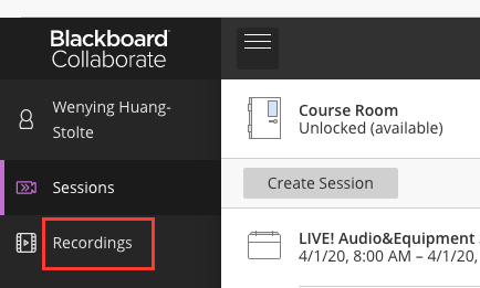 Click Recordings tab