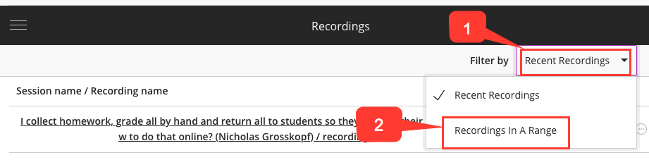 Select a time range for recordings