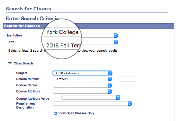 This link will take you to CUNYFirst's Search Class Schedule