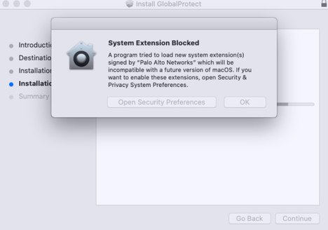 macOS System Extension Blocked Palo Alto