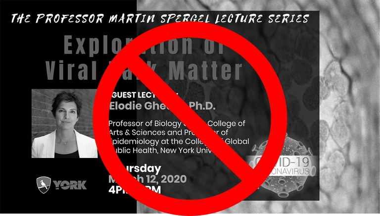 Due to the risks associated with large gatherings under the current threat of the COVID-19 virus, we are canceling the Spergel Lecture originally scheduled for Thu, Mar 12. It will be rescheduled for the fall semester.