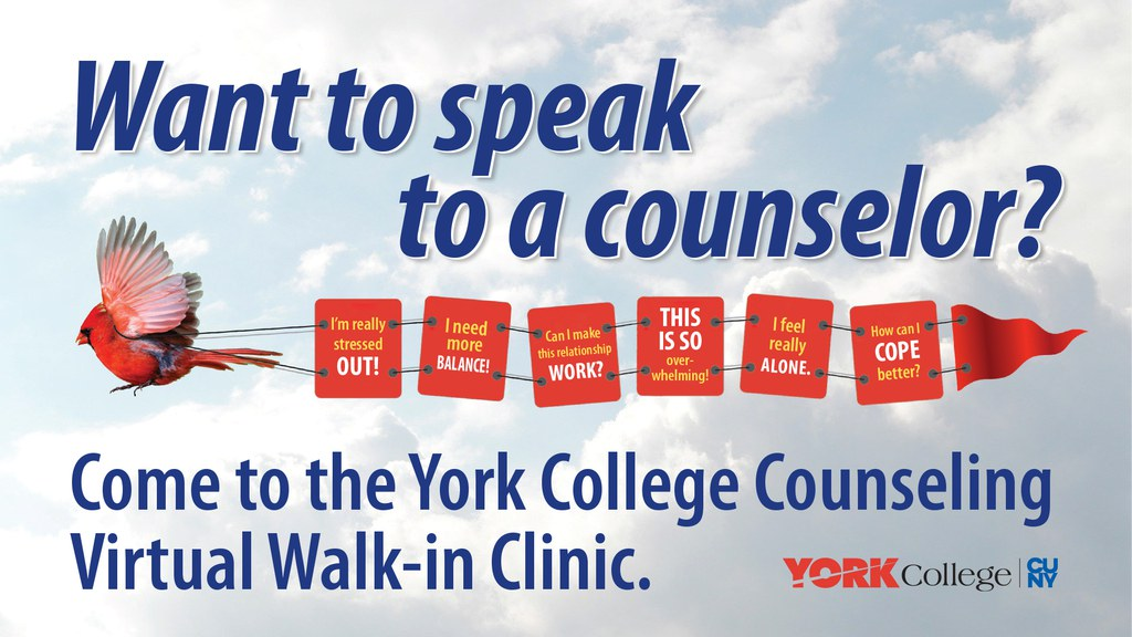 Want to speak to a counselor? Come to the York College Counseling Virtual Walk-in Clinic. I'm really stressed out! I need more Balance! Can I make this relationship work? This is so overwhelming! I feel really alone. How can I cope better?
