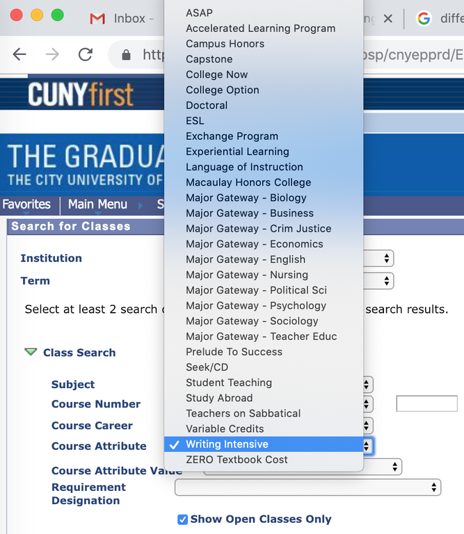 Screenshot of Course Attribute dropdown menu for registering for Writing Intensive course