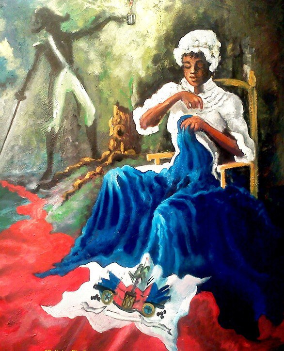 """(d. after 1803) Catherine Flon is considered a symbol of the Haitian Revolution. She played a major role as a nurse in the Haitian Revolution, but she is mostly known for sewing the first Haitian flag on May 18 stating """"Liberté ou la mort"""" meaning freedom or death."""
