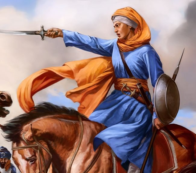 (1666-1708) Also known as Mai Bhago, was a Sikh woman who led Sikh soldiers against the Mughals in 1705. She was an exceptionally skilled warrior on the battlefield and is revered as a saint in Sikhism.
