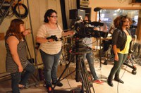 Students working a shoot in progress at the York College Television Studio.