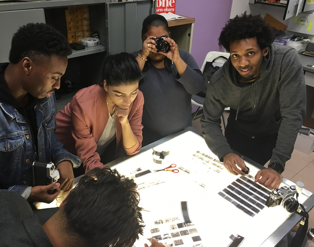 Students working during a photography class at York College.