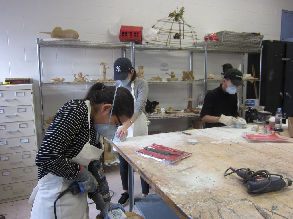 Students working on sculpture