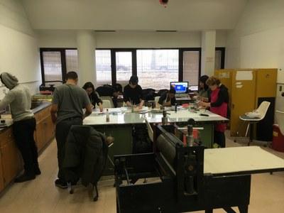 An image of the York College printmaking studio.