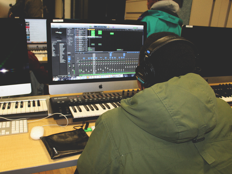 Student working on a mix in LL02.