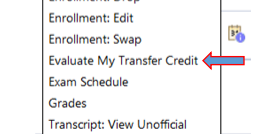 """Screenshot of the """"Evaluate My Transfer Credit"""" tool on CUNYFirst."""