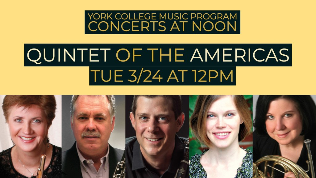 A poster to promote the Quintet of the Americas concert at York College.