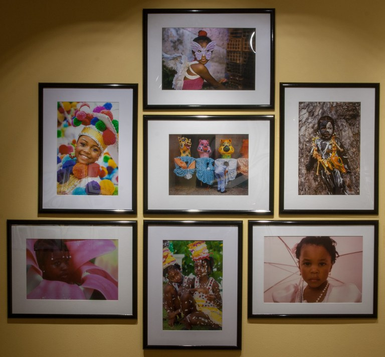 seven photographs as installed in gallery