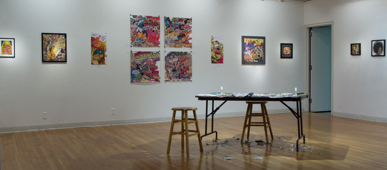 Gallery Installation view #7: looking SW, multiple works