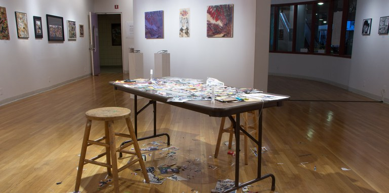 Gallery Installation view #12: looking N, multiple works, table display of collage process