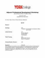 Adjunct Faculty Workshop Agenda Fall 2015