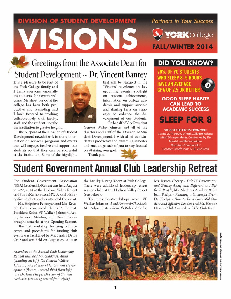 Fall 2014 Student Development Division Newsletter